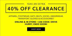 40% Off Clearance Apparel